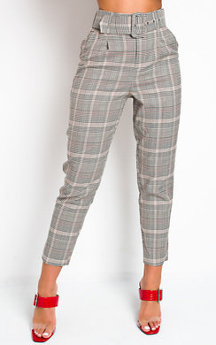 View the Tessi High Waist Belted Checked Trousers online at iKrush