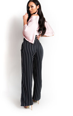 View the Thora High Waisted Stripe Trousers online at iKrush
