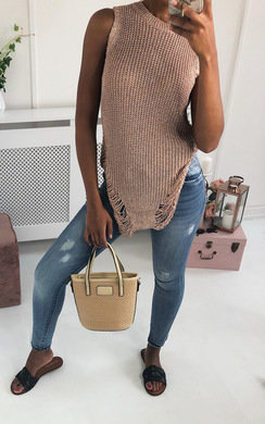 View the Tia Distressed Metallic Knit Top online at iKrush