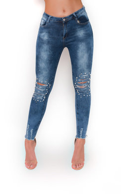 View the Tiana Beaded Embellished Ripped Jeans  online at iKrush