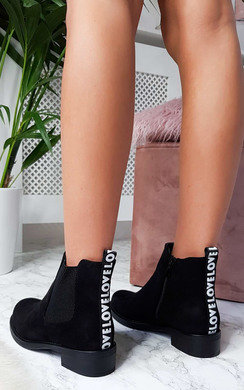 View the Tiana Faux Suede Slogan Panel Boots  online at iKrush