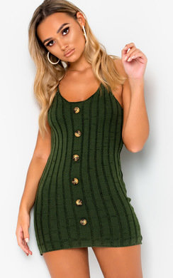 View the Tiana Knitted Button Mini Dress online at iKrush