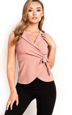 View the Tiff Sleeveless Tie Peplum Top  online at iKrush
