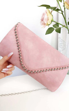 View the Tiff Studded Envelope Faux Leather Clutch Bag online at iKrush