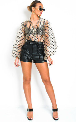 View the Tilly Faux Leather Shorts online at iKrush