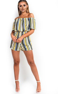 View the Tina Off Shoulder Striped Playsuit online at iKrush