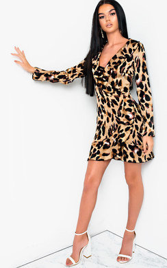 View the Tiona Leopard Print Crossover Frill Dress online at iKrush