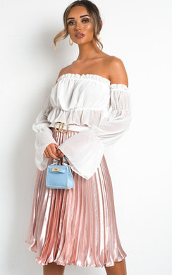 View the Trina Metallic Pleated Midi Skirt online at iKrush