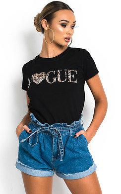 67d74fd1cdf4 View the Trina Slogan Stretch T-shirt online at iKrush