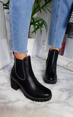 View the Trish Faux Leather Chunky Heel Boots online at iKrush