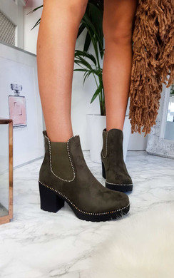 View the Trish Faux Suede Chunky Heel Boots online at iKrush