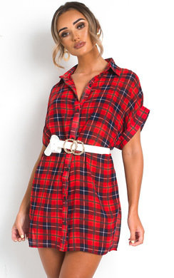 View the Trix Checked Shirt Dress online at iKrush