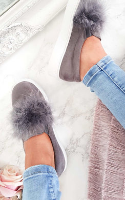 View the Trixie Faux Suede Fluffy Trainers online at iKrush