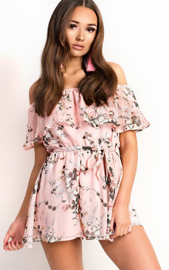 View the Trixie Off Shoulder Floral Playsuit online at iKrush