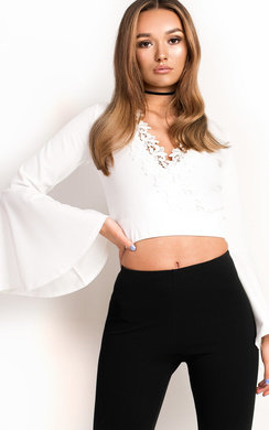 View the Tulla Lace Bell Sleeve Crop Top online at iKrush