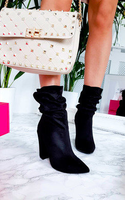 View the Tullah Faux Suede Heeled Ankle Boots online at iKrush