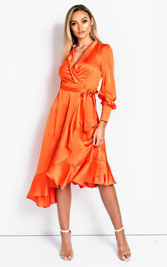 View the Tyla Satin Wrap Midi Dress online at iKrush