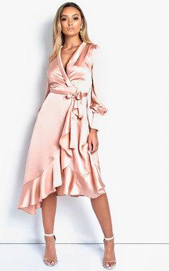 View the Tyla Satin Wrap Midi Dress online at iKrush