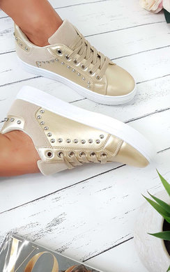 View the Tyra Metallic Studded Trainers online at iKrush