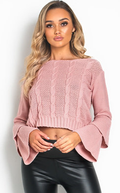 View the Ula Knit Bell-Sleeve Crop Jumper  online at iKrush