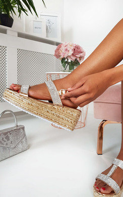View the Una Diamante Embellished Wedged Sandals online at iKrush