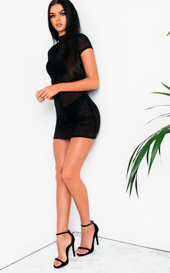 View the Val Mesh High Neck Bodycon Dress online at iKrush