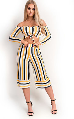 View the Val Off Shoulder Culotte Striped Co-ord online at iKrush