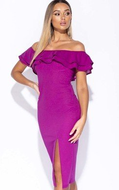 View the Valentina Frill Off Shoulder Midi Dress online at iKrush