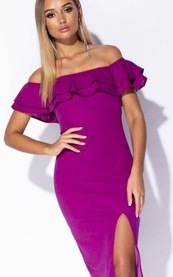 View the Valentina Frill Off Shoulder Midi Dress online at iKrush