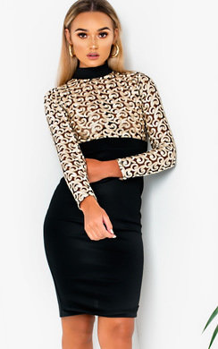 View the Vanessa Long Sleeve Mesh Dress online at iKrush