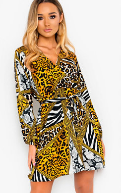 View the Velma Pattern Tie Wrap Dress  online at iKrush