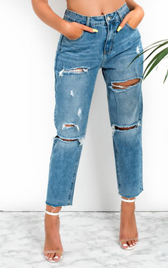 View the Verona Distressed Mom Jeans  online at iKrush