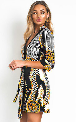 View the Veronica Pattern Tie Wrap Dress  online at iKrush