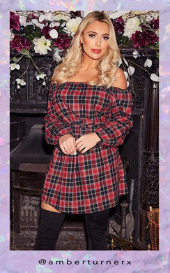 View the Vicky Off Shoulder Tartan Dress online at iKrush