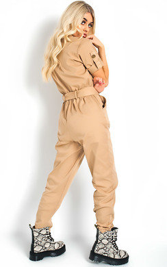 View the Virgo Tie Waist Button Up Utility Jumpsuit online at iKrush