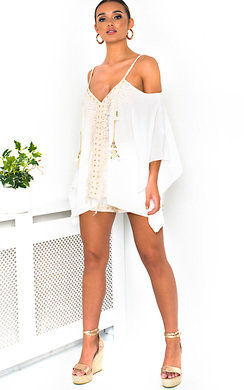 View the Vivi Crochet Embellished Top & Shorts Co-Ord  online at iKrush