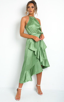 View the Willow Wrap Frill Midi Dress  online at iKrush