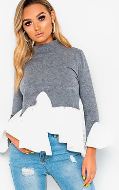 View the Xandra Frill Shirt Hem Jumper online at iKrush