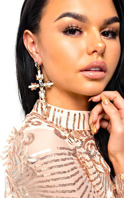 View the Xanthe Diamante Cross Statement Earrings  online at iKrush