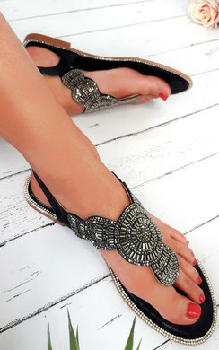 View the Xanthe Diamante Embellished T-Bar Sandals online at iKrush