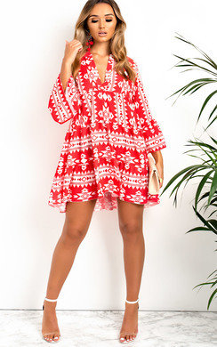 View the Xanthe Flare Printed Shift Dress online at iKrush
