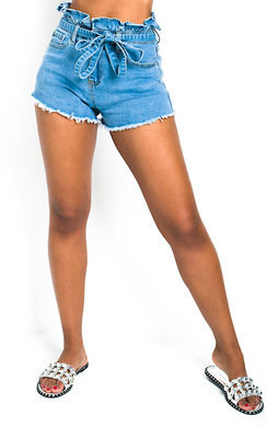 View the Xanthe Tie Waist Paperbag Denim Shorts online at iKrush