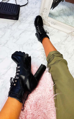 View the Xtina Faux Leather Lace Up Heeled Boots online at iKrush
