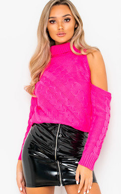 View the Yasmin Knitted Cut Out Jumper online at iKrush
