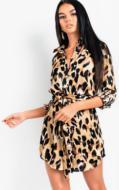 View the Yazzie Long-lined Leopard Shirt Dress online at iKrush