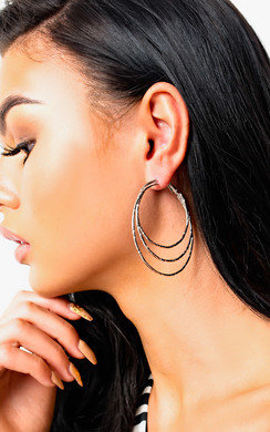 View the Yolanda Silver Multiple Hoop Earrings  online at iKrush