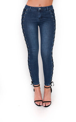 View the Zadia Lace Up Mid Rise Jeans  online at iKrush