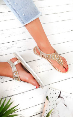 View the Zania Diamante Embellished T-Bar Sandals online at iKrush