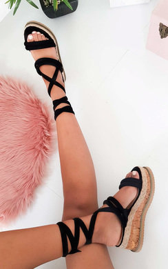 View the Zara Faux Suede Lace Up Flatform Sandal online at iKrush