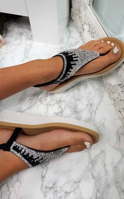 View the Zeena Diamante Embellished T-Bar Sandals online at iKrush